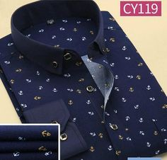Brand Print Men Shirt Long-sleeve Shirt Slim Fit Casual Shirts Fashion Men's Clothing Casual Camisa