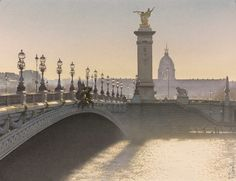 """Contre-jour sur le Pont Alexandre III"" (Ζωγραφική), 42x32 cm από Thierry Duval Aquarelle originale réalisée sur papier Arches 356gr grains fins. Paris. Format : 42 cm x 32 cm. Collection privée galerie Suiha - Tokyo - Japon. Original watercolor painting on Arches paper cold pressed 356gr. Paris. Size : 16.5 inch x 12.6 inch. Private collection gallery Suiha - Tokyo - Japan."