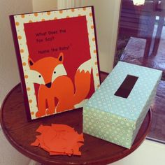 Fox themed baby shower ~ what does the fox say ? baby name suggestion game