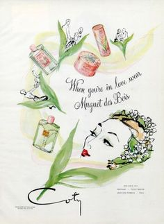 Coty Perfumes 1944 Muguet des Bois Vintage advert Perfumes illustrated by Eric (Carl Erickson) | Hprints.com