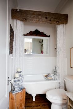 Love the wood valance. The Most Inspirational Farmhouse Bathrooms for your remodel! Rustic Bathroom Renovation cornice idea for bunk bathroom drape separation Rustic Bathroom Designs, Rustic Bathroom Decor, Bathroom Styling, Rustic Decor, Modern Bathroom, Rustic Wood, Salvaged Wood, Simple Bathroom, 1950s Bathroom