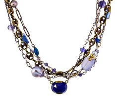Beth Orduna | Lapis, Kyanite and Chalcedony Mixed Chain Necklace in Designers Beth Orduna Necklaces at TWISTonline