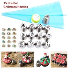 15 Pcs Christmas Nozzles Russian Icing Piping Tips Christmas Design For Cakes Cupcakes Cookies - Decoration Pastry Baking Tools Frosting Techniques, Frosting Tips, Christmas Gift Bags, Christmas Fashion, Christmas Cookies, Piping Icing, Piping Tips, Fun Cupcakes, Cupcake Cakes