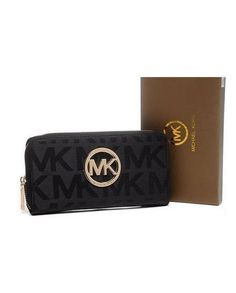 MICHAEL Kors Wallet Continental Monogram Leather Black