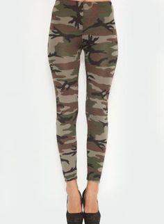 Army Print Leggings,  Bottoms, army print  stretch leggings, Casual