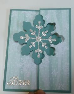Christmas Card, Using Stampin' Up! Snowflake Card Thinlits Dies, for details see my Wednesday, September 24, 2014, blog at http://kmaurer.stampinup.net