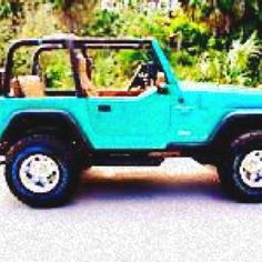 Tiffany blue jeep wrangler with tan leather! Please