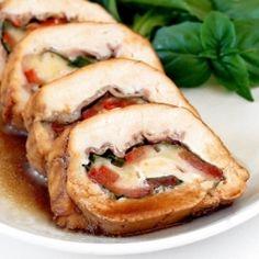 stuffed chicken breast with prosciutto, basil, tomatoes, and mozzarella.... yum!