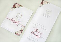 Convite de casamento marsala com flores