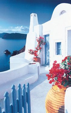 Santorini Terrace 597 Door Mural by Ideal Decor