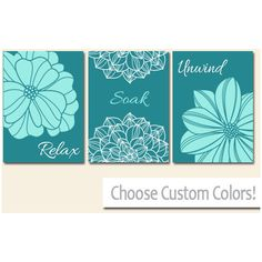 Bathroom Wall Decor Teal Bathroom Decor by HLBhomedesigns on Etsy