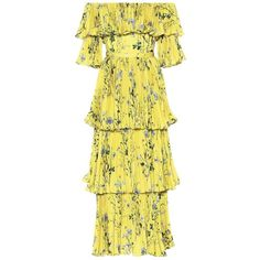 Self-Portrait Floral-Printed Crêpe Dress ($550) ❤ liked on Polyvore featuring dresses, yellow, flower print dress, crepe fabric dress, yellow floral dress, floral print dress and floral design dresses
