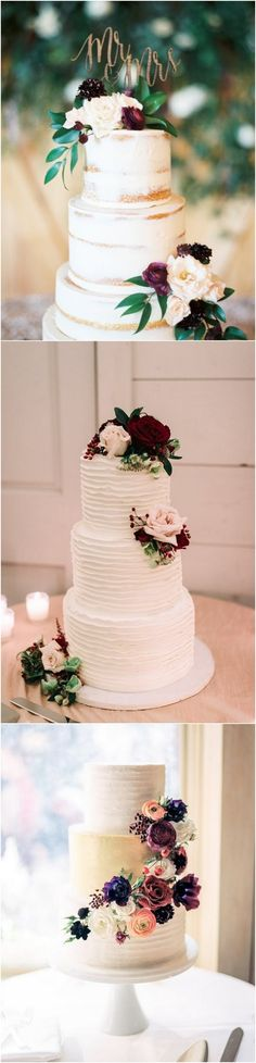 plum and greenery fall wedding cake_