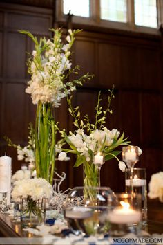 The altar flowers were all in shades of white with candles