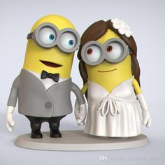 Funny Wedding Cake Toppers Custom Dispicable Me Minions Handmade 2015 Table Centerpieces 2015 Mrs & Mrs 60th Birthday Cake Toppers