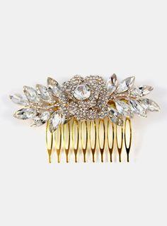 Nalini Crystal Rose Gold Wedding Hair Comb Garden