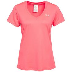 Under Armour Ss Tech Tee ($30) ❤ liked on Polyvore featuring activewear, activewear tops, pink shock pink, sports fashion, tops, womens-fashion, under armour sportswear, logo sportswear and under armour