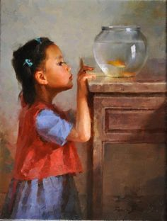 JIE WEI ZHOU GOLDFISH oil on canvas 12 x 9 in (30.48h x 22.86w cm) www.trailsidegalleries.com  #trailsidegalleries #art #paintings