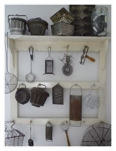 Kitchen Shelving Decor. White, Grey, Black, Chippy, Shabby Chic, Whitewashed, Cottage, French Country, Rustic, Swedish decor Idea. ***Pinned by oldattic ***.