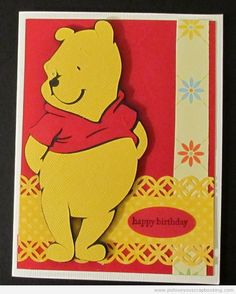 This sweet Winnie the Pooh Cricut Card is perfect for a special birthday. It was made using the Winnie the Pooh and Friends Cricut Cartridge. Cricut Birthday Cards, Kids Birthday Cards, Cricut Cards, Handmade Birthday Cards, Special Birthday, Birthday Ideas, Birthday Bash, Happy Birthday, Disney Cricut Cartridge