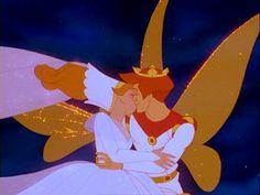 Thumbelina and Cornelius Kiss | Thumbelina - Thumbeina and Prince Cornelius' kiss at the end of the ...