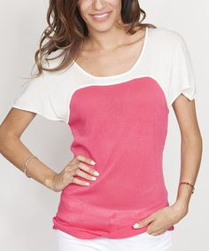 Loving this Fuchsia & White Color Block Top on #zulily! #zulilyfinds
