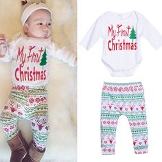 4pcs Baby Clothes Set Boy Girl Christmas Cotton Long Sleeve Outfit Romper Pants Leggings Hat Clothes Set  0-18 Months