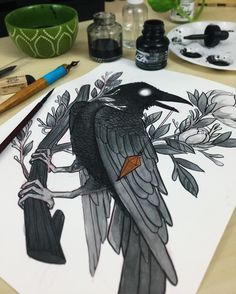 """28k Likes, 134 Comments - Jacquelin de Leon (@jacquelindeleon) on Instagram: """"Inktober day 05// Raven&Magnolias I wasn't feeling too well today, I was about to give up and go to…"""""""