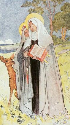 Interesting painting, who's the another nun behind Saint Bridget? Is it her daughter Catharina or another nun from Bridget's order? | Carl Larsson - Birgitta, The Saint