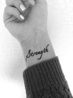 he gives us strength from all our hurts and pain we go thru.we always grow as a person after we get thru the pain others bring to us tattoos 40 Charming One Word Tattoo Examples Trendy Tattoos, Cute Tattoos, Beautiful Tattoos, Body Art Tattoos, Girl Tattoos, Tatoos, Music Tattoos, Arrow Tattoos, Beautiful Body