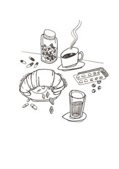 Black and White Ink Line Drawing Illustration White Ink, Black And White, Objet D'art, Line Drawing, Drawings, Tea Time, Creative, Illustration, Amy