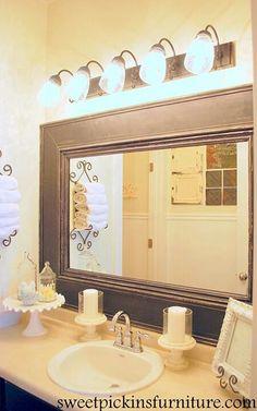 Agencement Cuisine : {framed mirror tutorial} Deco Sharing is caring, don't forget to share ! Ideas Hogar, Bathroom Inspiration, Bathroom Ideas, Design Bathroom, Bathroom Interior, Bath Ideas, Bathroom Plans, Diy Interior, Bathroom Colors