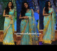 sridevi in a manish-malhotra blue saree with yellow kashmiri embroidery