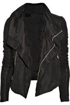 Rick Owens Blister washed-leather biker jacket NET-A-PORTER.COM - StyleSays