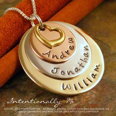 Hand Stamped Mommy Jewelry -  Personalized Necklace - Mixed Metal Family layered keepsake. $50.00, via Etsy.
