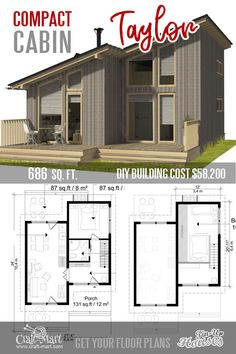 This clean-line tiny house with a loft has everything for a young US couple on a tight budget beside a double-car garage. This clean-line tiny house with a loft has everything for a young US couple on a tight budget beside a double-car garage. Tyni House, Tiny House Loft, Tiny House Living, Tiny House Design, Small Home Design, Micro House Plans, Small House Plans, Tiny Home Floor Plans, Tiny Houses Plans With Loft