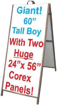 "Wood A-Frame 24""x60"" Double Sided Sidewalk Signs w/Coroplast Panels"