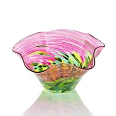 "Wildflowers Fluted Floppy Bowl Size: 5"" diameter Design: Watermelon"