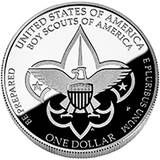 The reverse (tails) design features the Boy Scouts of America's universal emblem. Inscriptions are UNITED STATES OF AMERICA, BOY SCOUTS OF AMERICA, BE PREPARED, E PLURIBUS UNUM and ONE DOLLAR.    Both designs were approved by Secretary of the Treasury Timothy F. Geithner on September 16, 2009, at the recommendation of the United States Mint, after consultation with the Boy Scouts of America and the U.S. Commission of Fine Arts, as well as review by the Citizens Coinage Advisory Committee.
