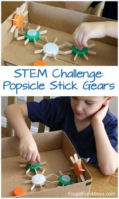 popcicle sticks Heres a fun STEM challenge: Build working gears out of plastic caps, popsicle sticks, and a cardboard box! This project demonstrates mechanical concepts using materials Kid Science, Stem Science, Teaching Science, Stem Projects, Projects For Kids, House Projects, Craft Stick Crafts, Diy Crafts For Kids, Kids Diy