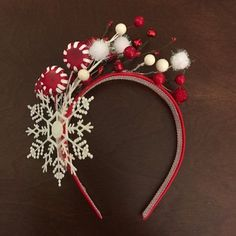 Adult tacky Christmas headband // Red and white headband // ready to ship // Christmas by CraftyAbbe Christmas Dress Up, Christmas Hair, Grinch Christmas, Christmas Costumes, Christmas Time, Christmas Sweaters, Christmas Headdress, Christmas Photo Booth, Diy Headband