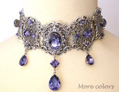 Tanzanite Swarovski Crystal Choker - Victorian Gothic Bridal Silver Choker - Bridal Necklace -Victorian Gothic Jewelry - Wedding Jewelry