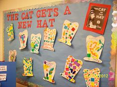 Fun craft and bulletin board idea for Dr. Seuss. Could pair with writing that explains WHY the cat needs a new hat! :+)