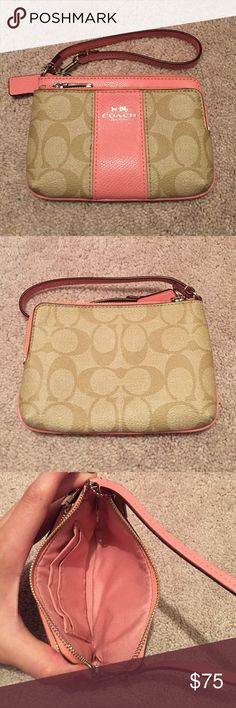 Pink and tan coach wristlet Pink and tan coach wristlet. Wristlet has two zippered compartments. Used probably about 3 times. Coach Bags Clutches & Wristlets