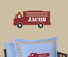 Fire Truck Boy Wall Decal Name Nursery Vinyl Wall by AllOnTheWall