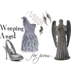 Site with clothing ideas based on Doctor Who episodes: Weeping Angel for prom One sleeve dress, $48Michael Antonio platform sandals, $40Club Manhattan wing necklace, €18Wing jewelry, 15 AUD