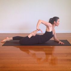 Half Frog Pose #Ardhabekhadana. This pose is great for lengthening the quadriceps, stretching the psoas and opening the chest.