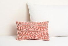 Beaded Border Pillow, Coral
