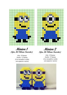Despicable Me Minions hama perler beads pattern - cross stitch/tapestry?: -- for Billy Perler Bead Designs, Hama Beads Design, Pearler Bead Patterns, Perler Patterns, Loom Patterns, Beading Patterns, Cross Stitch Patterns, Fuse Beads, Perler Beads