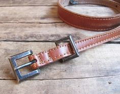 vintage c. 1980s Johnny Farah tan leather belt with sterling silver buckle set by MouseTrapVintage, $124.00